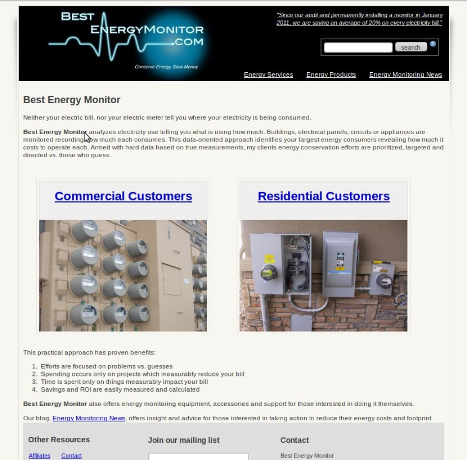 E Commerce web site for a Colorado energy monitoring company