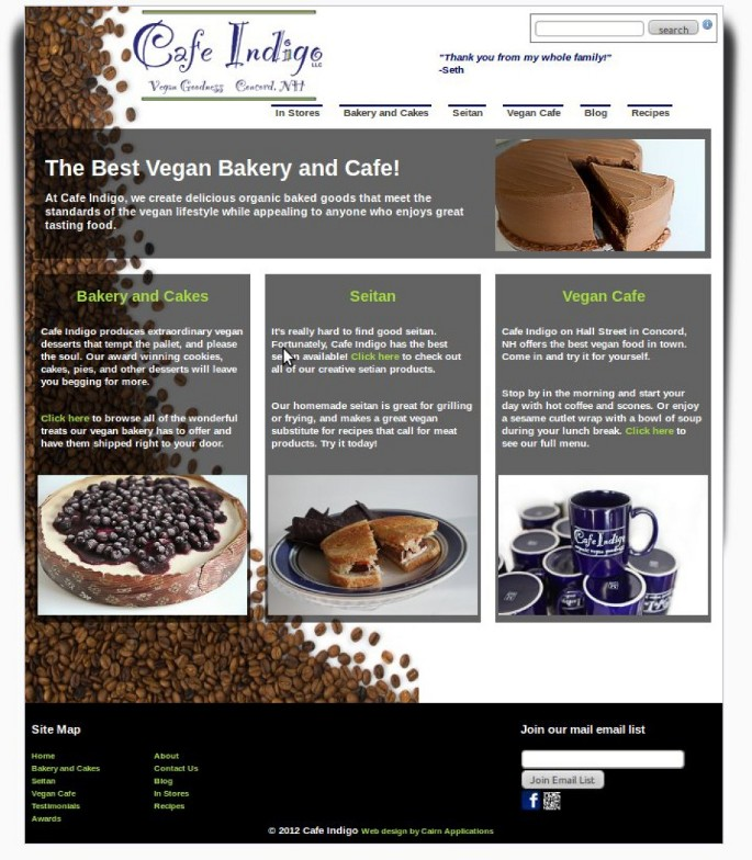 E Commerce web site for a Concord, NH  cafe Gallery