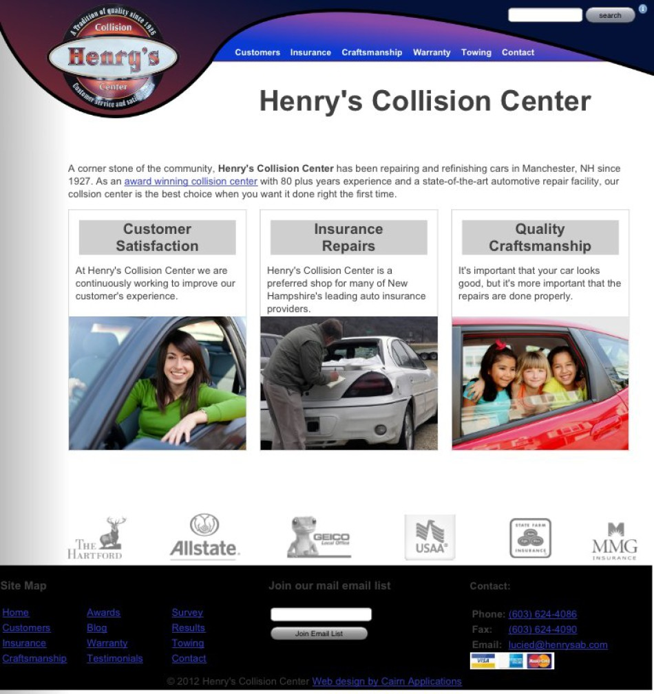 Marketing web site for a Manchester, NH collision center