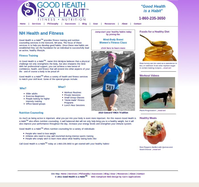 Blog web site for a Concord, NH personal trainer