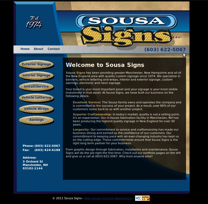 Marketing web site  for a Manchester, NH sign maker