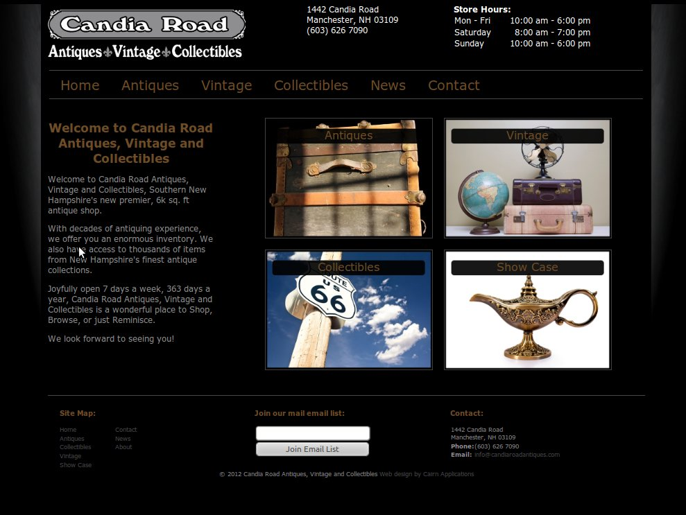 Web site for Manchester, NH antique shop