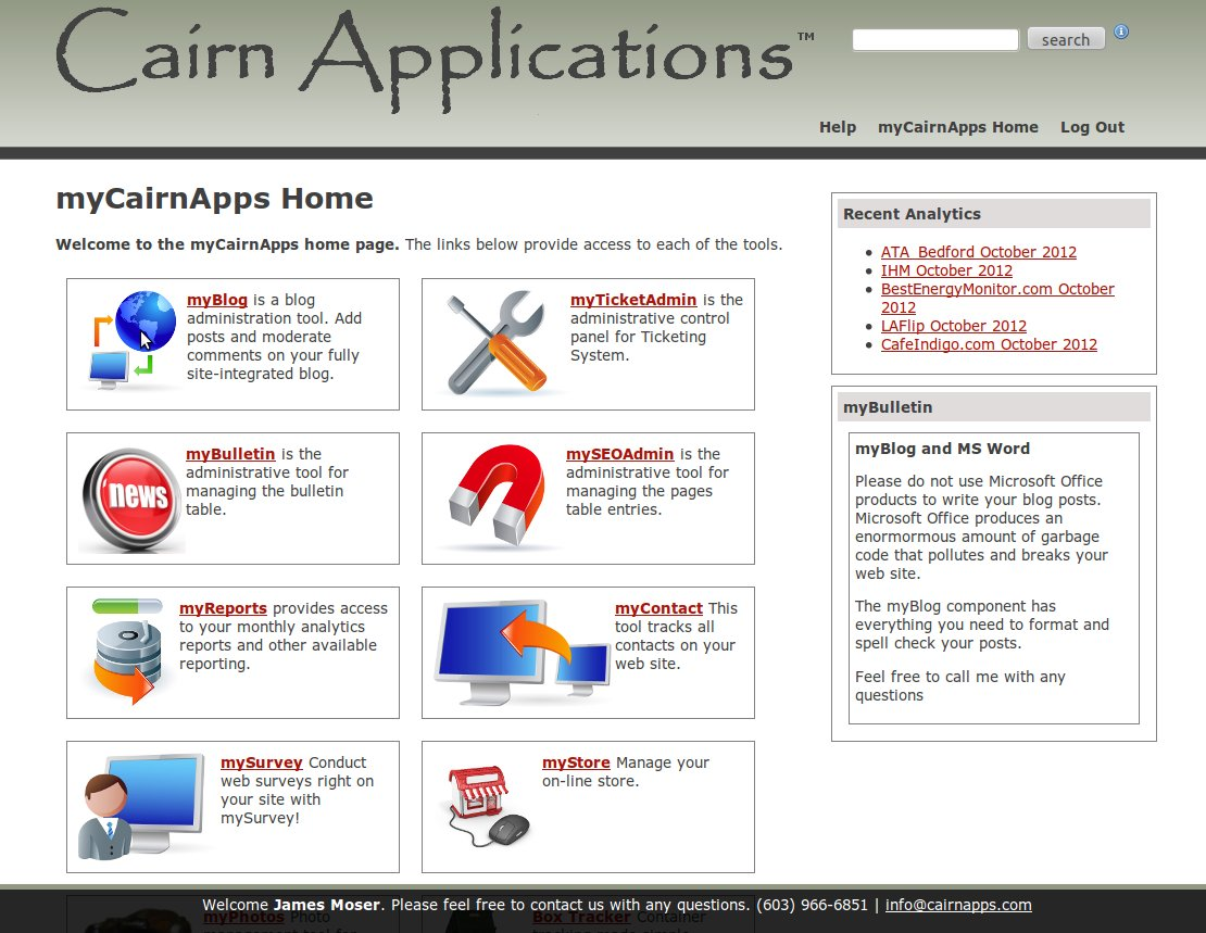 Web Applications: myCairnApps Control Panel