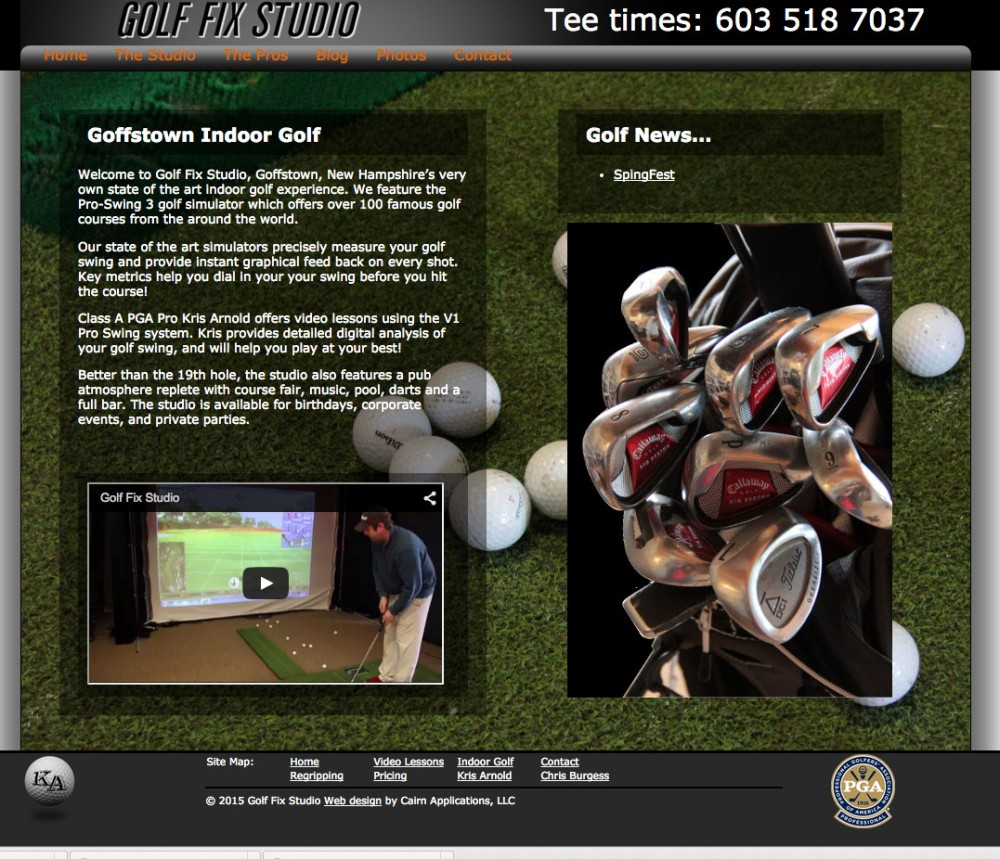 Web site for Goffstown, NH indoor golf facility
